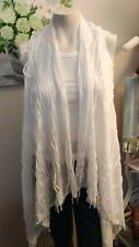 White OverSized Distressed Look Vest  One Size