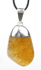 PENDANT - Large CITRINE Tumbled Crystal w/Description Card- Healing Stone, Reiki