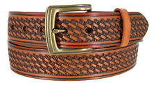 "10309 MEN'S WORK UNIFORM LEATHER BASKETWEAVE CASUAL BELT 1-1/2"" WIDE  3 COLORS"