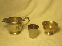 3 x vintage silverplate creamer sugar bowl Germany stainless ? shot glass