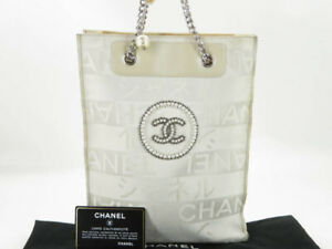 CHANEL GINZA LIMITED LOGO IMITATION PEARL CANVAS LEATHER CHAIN TOTE BAG EY598