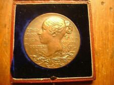 Antique 1897 Jubilee Queen Victoria Bronze Medallion In Original Case
