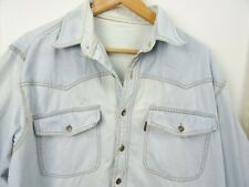 vintage worn denim cotton shirt long sleeve chunky distressed faded marked L