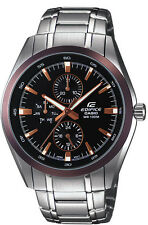 Casio EF338DB-1A Mens Stainless Steel Black Dial Dress Watch 3-Dials Modern New