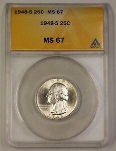 1948-S Washington Silver Quarter 25c Coin ANACS MS-67 GEM BU Beautiful