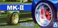 "Aoshima 1/24 MK-II 14"" Wheel Rims & Tire Set For Plastic Models 5388 (55)"