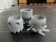 SET OF 3 CUTE GRAY CONTAINERS PLANTER TOYS BELLY LEGS OCTOPUS PAC MAN GHOST