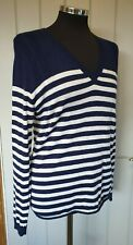 Lacoste blue and white striped v neck jumper size 40 UK 12 100% wool thin knit
