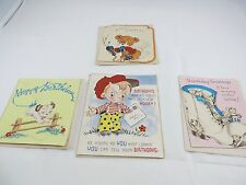 Lot of 4 Vintage Birthday Cards Children Kittens Puppies Pop Up Crafting