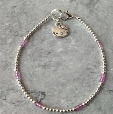 "Childrens Hello Kitty Charm Silver Plated & Pink Glass Seed Bead 7"" Anklet"