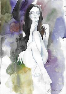 original painting A3 86KrV art samovar Modern Watercolor female nude alla prima