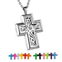 Cross Diffuser Locket Pendant Aromatherapy Essential Oil Fragrance Necklace Hot