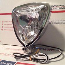 """Chrome 5"""" Triangle Headlamp Headlight for Harley Custom Chopper Bobber Springer"""