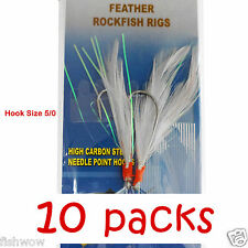 10packs Size 5/0 Fishing Rockfish Rigs 2 Hooks Feather Rock Cod Lures White #5/0