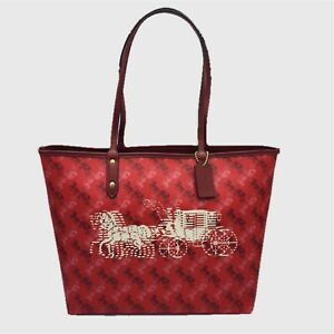COACH REVERSIBLE CITY TOTE W/HORSE AND CARRIAGE PRINT BRIGHT RED/CHERRY F82135