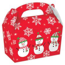 5 X Fête de Noël Gamelles Bonhomme Neige Cadeau Présent Faveur Carte Traiter