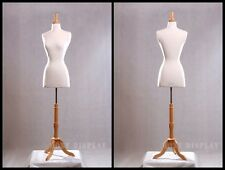 Size 2-4 Female Mannequin Dress Form+Maple Wood Base #FWPW-4-JF + BS-01NX