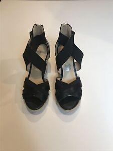 Liz Claiborne black strappy wedge espadrilles