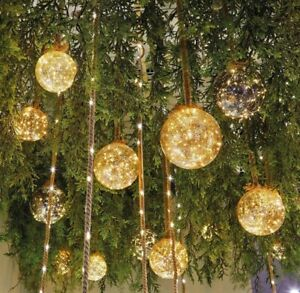 Frosted Glass Ball Led Hanging Decoration On Rope - 30 Warm White LEDs - Timer
