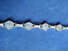 Echt 925 Sterling Silber Armband synth Opal blau irsierend Quadrat Nr 5000