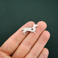 BULK 5 Dachshund Charms Stainless Steel Great As a Charm or For Stamping - MT412