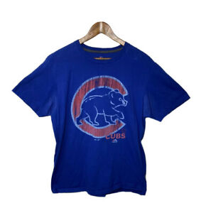 Chicago Cubs Majestic MLB blue Retro Logo T- Shirt Adult XL