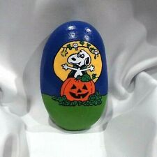 Hand Painted Rock Art Snoopy Woodstock Halloween Peanuts Collectible