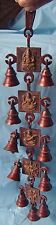 BRASS LORD GANESHA GODDESS LAXMI PRAYER BELLS STRING 5 BLOCKS WALL HANGING INDIA