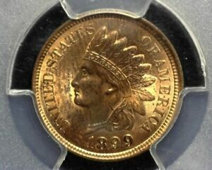 HS&C: 1899 Indian Head Penny/Cent PCGS MS63 RB Mostly red - US Coin
