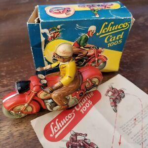 Schuco Shuko Motorcycle Charlie Carl 1005 Nice Vintage Rare 1940s Toy See Video