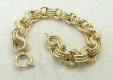 "Elegant 14K Y Gold Triple Stacked Smooth/Rope Rolo Bracelet 7.75"" A9747"
