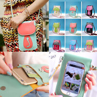 Cross-body Touch Screen Cell Phone Wallet Shoulder Bag Leather Pouch Case