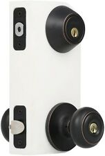 Entry Door Knob and Cylinder Deadbolt Combo Set Front Handle Lock Aged Bronze