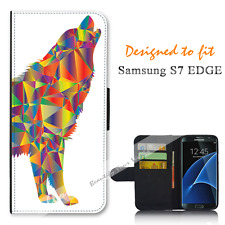 For Samsung Galaxy S7 EDGE Wallet Flip Phone Case Cover Wolf Vector Art Y00948