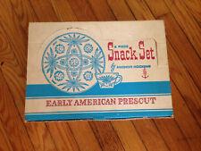 Vtg Anchor Hocking Early American Prescut/EAPC 8 Piece Snack Set,Original Box