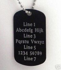 1 PERSONALIZED Dog Tag Necklace Horizontal Word BLACK