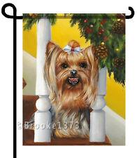 Yorkie painting Garden Flag Dog Art Yorkshire Terrier Holly Christmas New