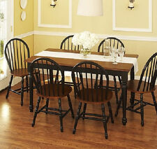 Dining Set 7 piece Farmhouse Table & 6 Windsor Chairs Kitchen Black and Brown