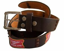 Miller High Life Beer Brown Leather Stitch Logo Belt New X Large Xl