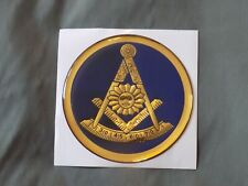 "Masonic 3"" Gel Car Emblem Past Master Mason with Square Blue Fraternity NEW!"