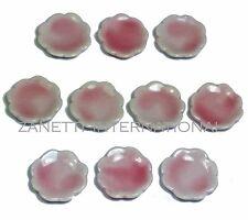 10-Piece Dollhouse Miniature Pink Ceramic Plates / Dishes Set * Doll Mini Food