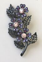 Vintage purple  pink flower brooch