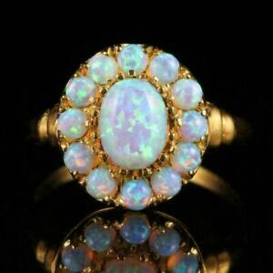 2.00 Ct Oval Cut Fire Opal Cluster Halo Engagement Ring 14K Yellow Gold Over