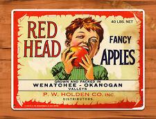 "TIN SIGN ""Redhead Apples"" Food wall decor Farm Vintage Fruit Kitchen Mancave GIF"