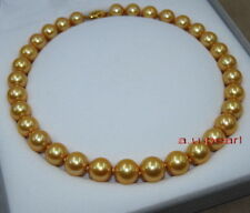"""top luster 18""""10-12mm Natural round south sea deep golden pearl necklace 14K"""
