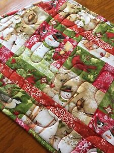Handcrafted-Quilted Table Runner - Snowmen, Chickadees, Snowflakes & Wildlife