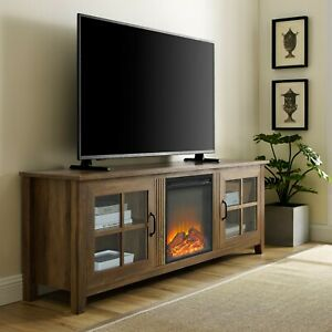 """TV Stand w/ Electric Fireplace Farmhouse for TV up to 82"""" Entertainment Console"""