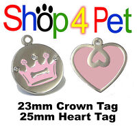 Pet ID Tag, DOG or CAT TAGS Pink Crown & Diamantes / Pink Heart Engraved Options