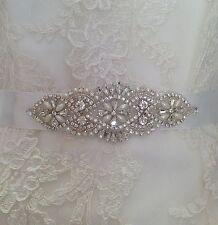 Bridal Wedding Dress Belt Sash Pearl And Crystal Sparkle Ivory Ribbon Tie B106