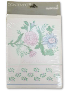 Bridal Shower Card Invitations RSVP Cards Pink Floral Contempo Beach 32 Pack